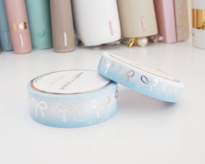 SNOW DAY ombre bow washi tape set (variation ombre) + silver foil bow - set of 2