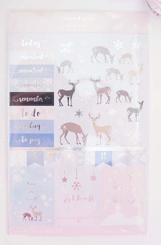 simply gilded SNOW DEER luxe sticker sheet with silver foil