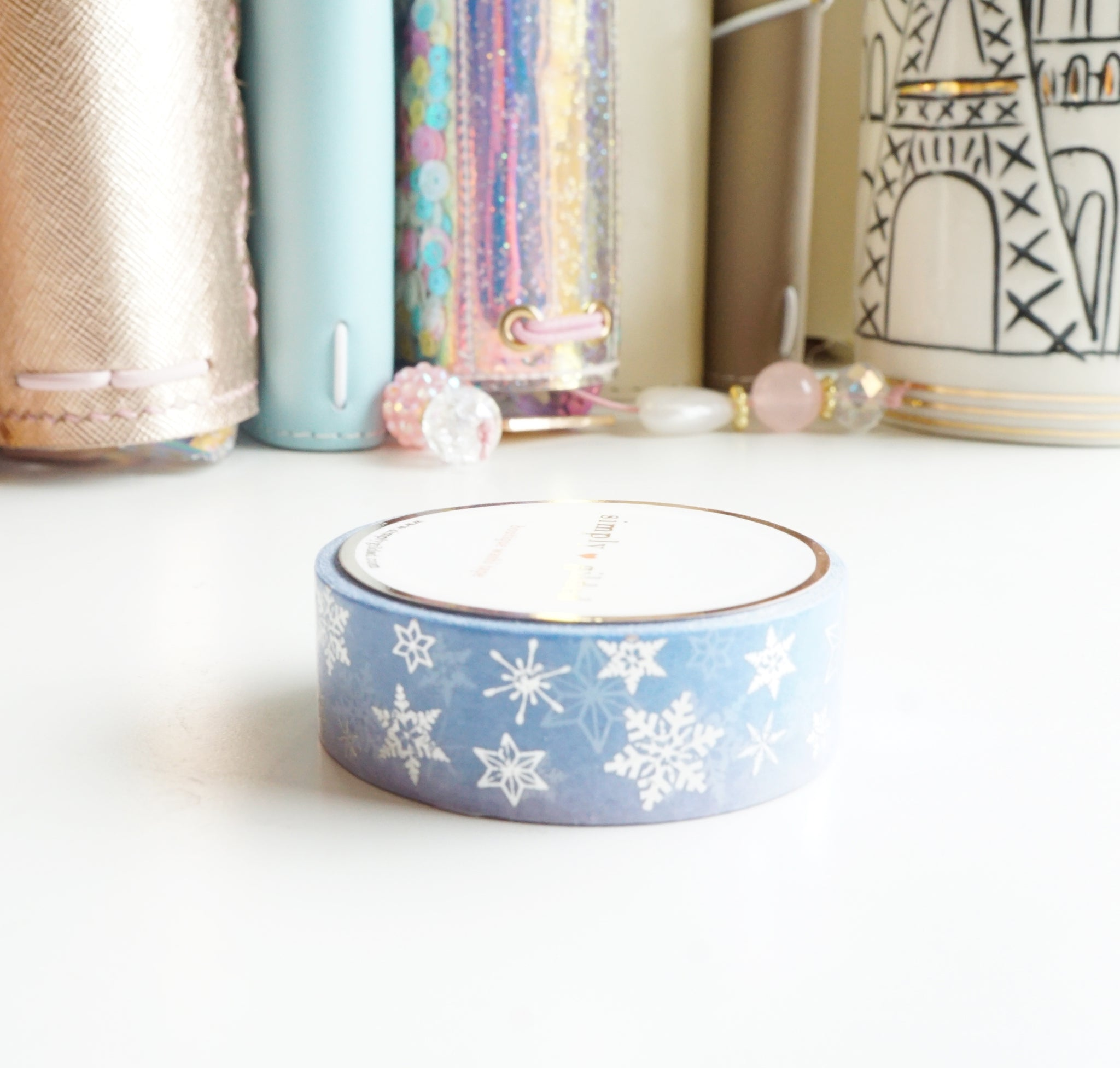 Snowflake FLURRY washi tape with silver foil - 15mm