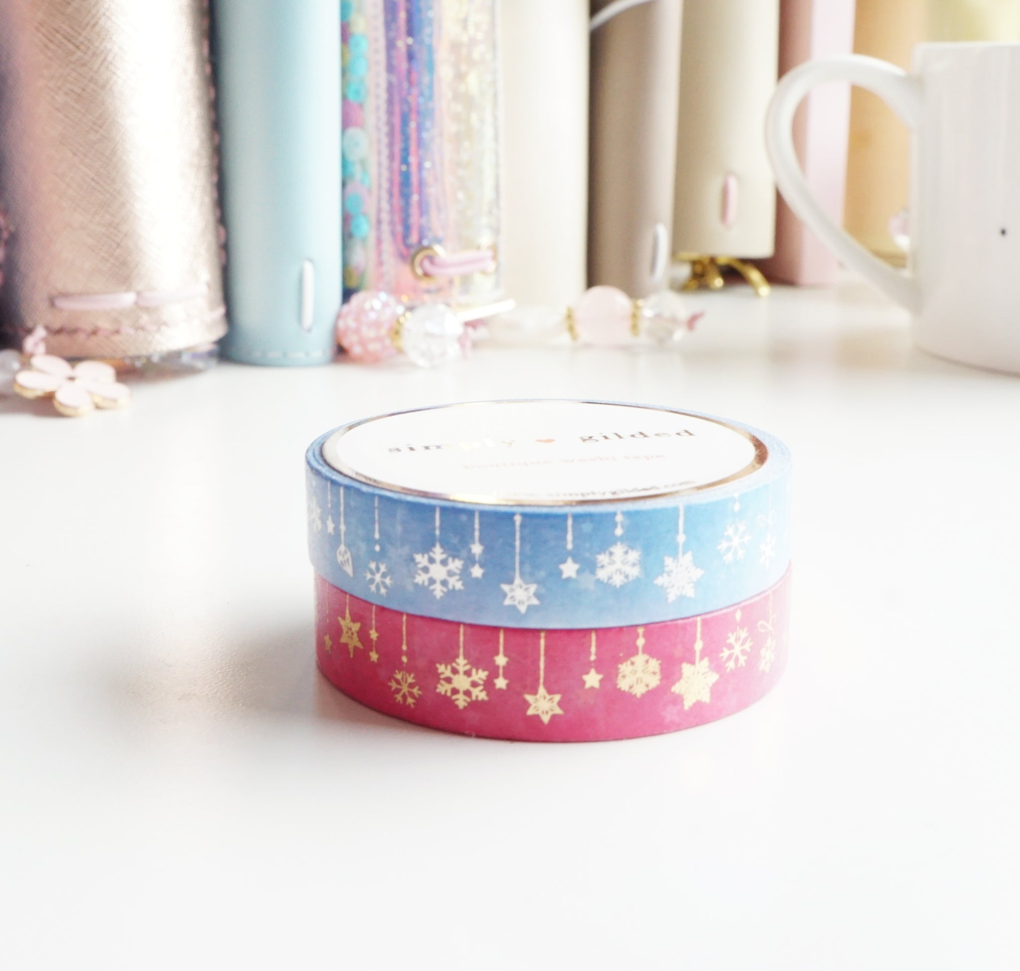 ORNAMENT 10mm washi set - blue + silver holo and pink + gold foil