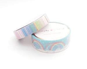 WASHI TAPE 15/10mm - SOFT Rainbow/Stripe Set + silver holographic/rose gold foil
