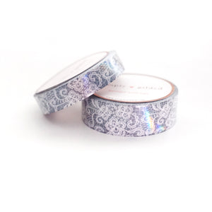 WASHI 15/10mm set - Spirit WHITE LACE + iridescent overlay