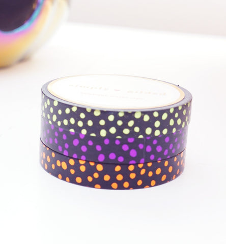 WASHI TAPE 7.5 set of 3 - HALLOWEEN CONFETTI + lime green/purple/coppery orange foil (September release)