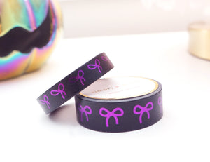 WASHI TAPE 15/10mm bow set Black + PURPLE foil (September release)