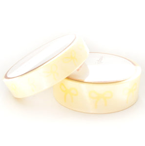 WASHI 15/10mm BOWS set - Lemon YELLOW Sorbet Spirit + opalescent overlay