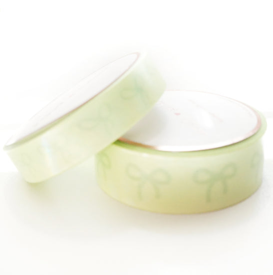 WASHI 15/10mm BOWS set - Sweet Lime GREEN Sorbet Spirit + opalescent overlay