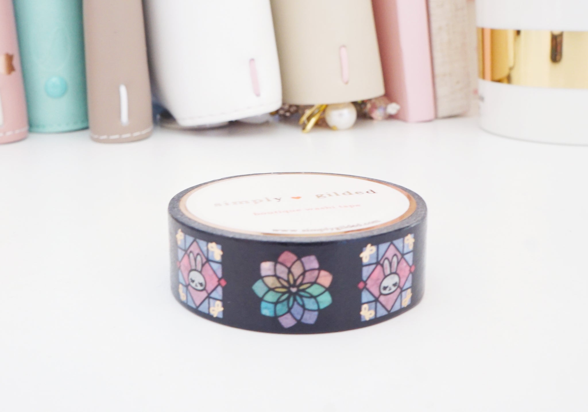 STAINED GLASS JUNIPER + rose gold foil washi tape 15 mm