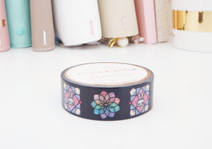 WASHI TAPE 15mm - STAINED GLASS JUNIPER + rose gold foil (Mystery Monday)