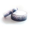 WASHI TAPE 15/10mm set - Midnight NAVY Stardust + holographic silver/rose gold foil