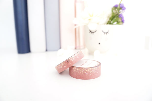 WASHI TAPE 15/10mm -  PINK SANDALWOOD STARDUST + gold/rose gold/purple foil (Mystery Monday)