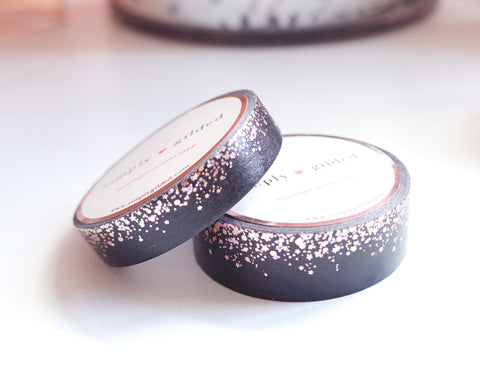 WASHI TAPE 15/10mm set - Valentine's Day BLACK STARDUST + rose gold / silver holographic / light pink foil (January 10 Release)