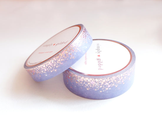 WASHI TAPE 15/10mm set - Sweet PERIWINKLE STARDUST + rose gold / silver holographic / light pink foil