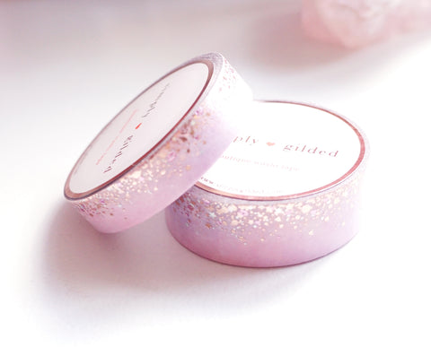 WASHI TAPE 15/10mm set - Valentine's Day OMBRE STARDUST + rose gold / silver holographic / light pink foil (January 10 Release)