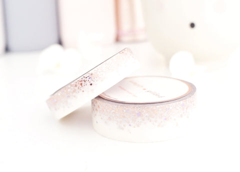WASHI TAPE 15/10mm set - WHITE STARDUST with PURPLE HEARTS + silver holographic/rose gold/purple foil (Mystery Monday)