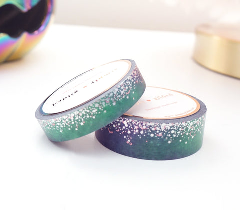 WASHI TAPE 15/10mm set - Witch's Brew STARDUST + silver holographic/pink holographic confetti (Mystery Monday)