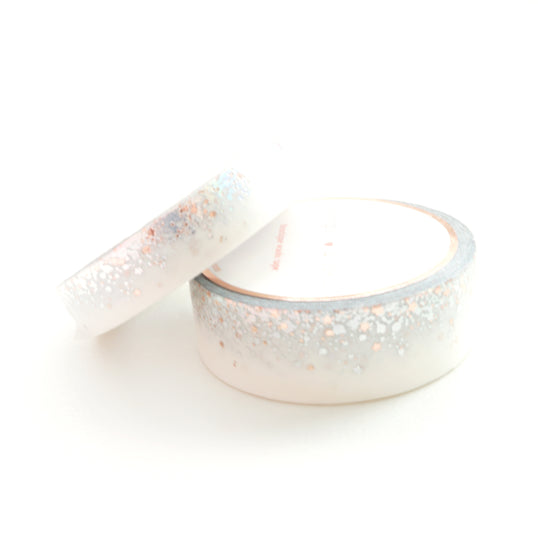 WASHI TAPE 15/10mm set - WHITE STARDUST + holographic silver/rose gold foil