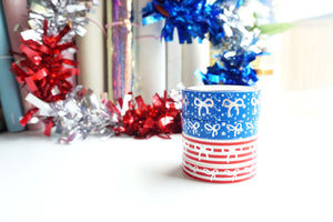 WASHI TAPE 15/10mm bow (set of 4) - STARS AND STRIPES - silver foil