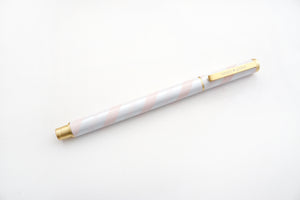 PEN - SUGAR COLLECTION Pink & White stripe + matte gold hardware (Mystery Monday)