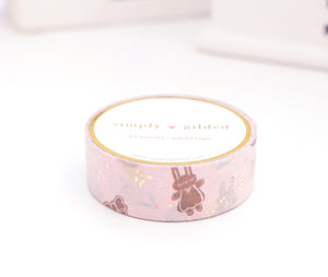 WASHI TAPE 15mm - SUGAR & SPICE + light gold foil