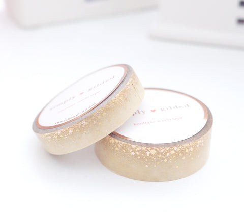 WASHI TAPE 15/10mm set - SUGAR COOKIE STARDUST - holographic gold/rose gold foil (Mystery Monday)