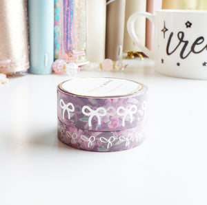 SUGAR PLUM FLORAL and silver foil bow washi tape set