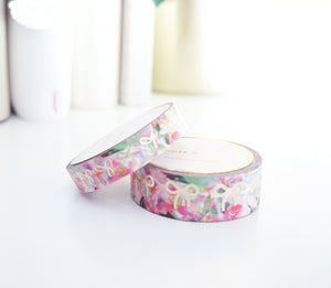 WASHI TAPE SET 15mm/10mm BOW set - SUMMER FLORAL + light gold