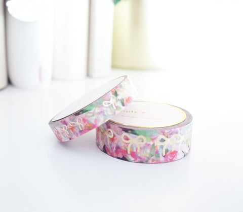 WASHI TAPE SET 15mm/10mm BOW set - SUMMER FLORAL + light gold (Mystery Monday)