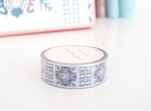 WASHI TAPE 15mm - Sunwashed Paradise MOSAIC TILE + silver holographic (Mystery Monday)