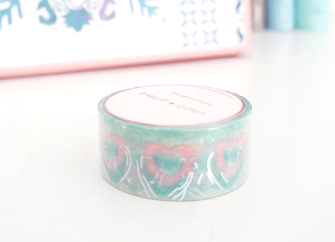 WASHI 20mm  - Sunwashed Paradise POOL FLOATIE + silver holographic (Mystery Monday)