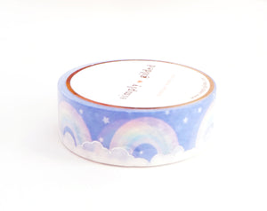 WASHI TAPE 15mm - SWEET DREAMS Rainbows + silver holographic foil