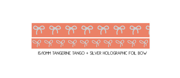 WASHI TAPE 15/10mm BOW set - TANGERINE TANGO + silver holographic (May Release, Presale) LIMIT of 2