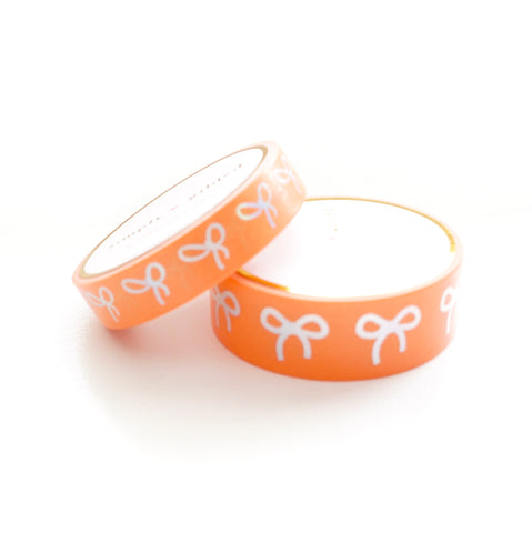 WASHI 15/10mm BOW set - TANGERINE TANGO + silver holographic (Restock)