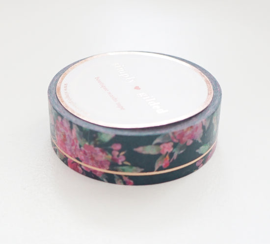 WASHI TAPE 15mm - Teal Floral SIMPLE LINE + rose gold foil