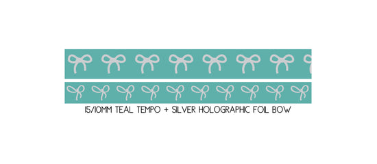 WASHI 15/10mm BOW set - TEAL TEMPO + silver holo (Mystery Monday)