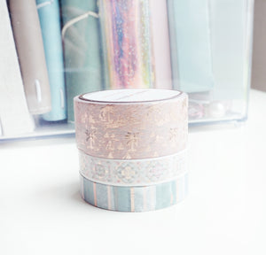 WASHI TAPE 20/10/10mm set - THE ISLANDS (set of 3) + rose gold (Mystery Monday)