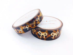 WASHI TAPE 15/10mm bow set - CLASSIC Tortoiseshell + light gold foil bow (November 8 Holiday Release)