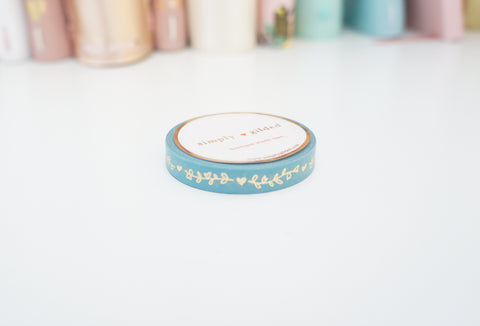 WASHI TAPE 7.5mm - TURQOUISE Heart and Vine + champagne gold (Mystery Monday)