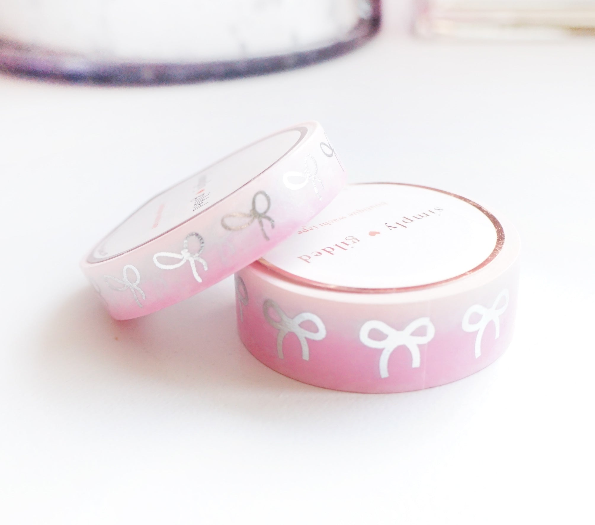 WASHI TAPE 15/10mm BOW set - Valentine's 2020 PINK ON PINK Ombré + SILVER foil (January 31 Mini Release)*