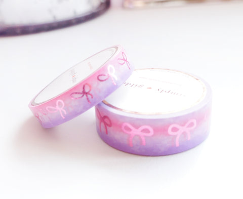 WASHI TAPE 15/10mm BOW set - Valentine's 2020 PINK/PURPLE Ombré + Bright PINK foil (January 31 Mini Release)*
