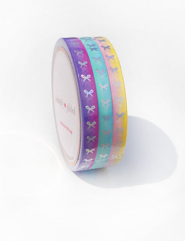 MINI WASHI 5mm - SUMMER SUNSET OMBRE VERTICAL  + silver holo foil bows (Last Chance)