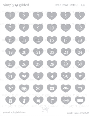 STICKERS - GLOSSY Clear Heart Icons DATES + you choose foil