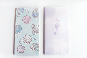 WEEKS NOTEBOOK - Seashell Bubbles or Purple Seahorse (MYSTERY MONDAY)