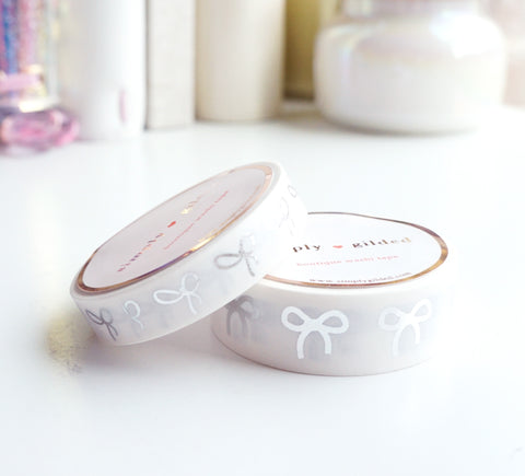 WASHI TAPE 15/10mm bow set - PATRIOTIC WHITE - silver foil
