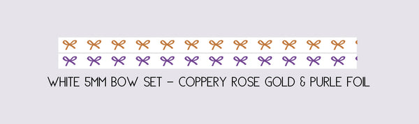 MINI SET 5mm HORIZONTAL BOW set of 2 - WHITE + COPPERY ROSE/PURPLE foil (Mystery Monday)