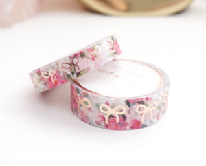 WASHI TAPE 15/10mm bow set - WHITE FLORAL + rose gold foil bow