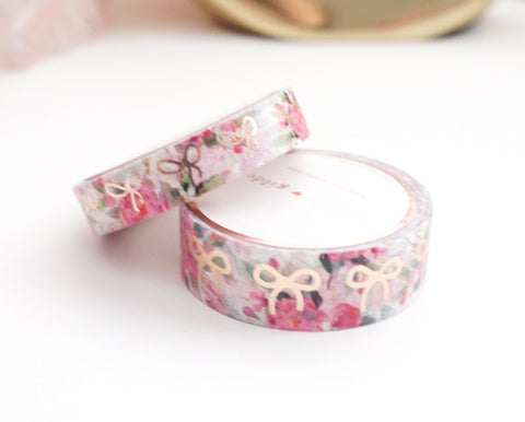 WASHI TAPE 15/10mm bow set - WHITE FLORAL + rose gold foil bow (January 10 Release)