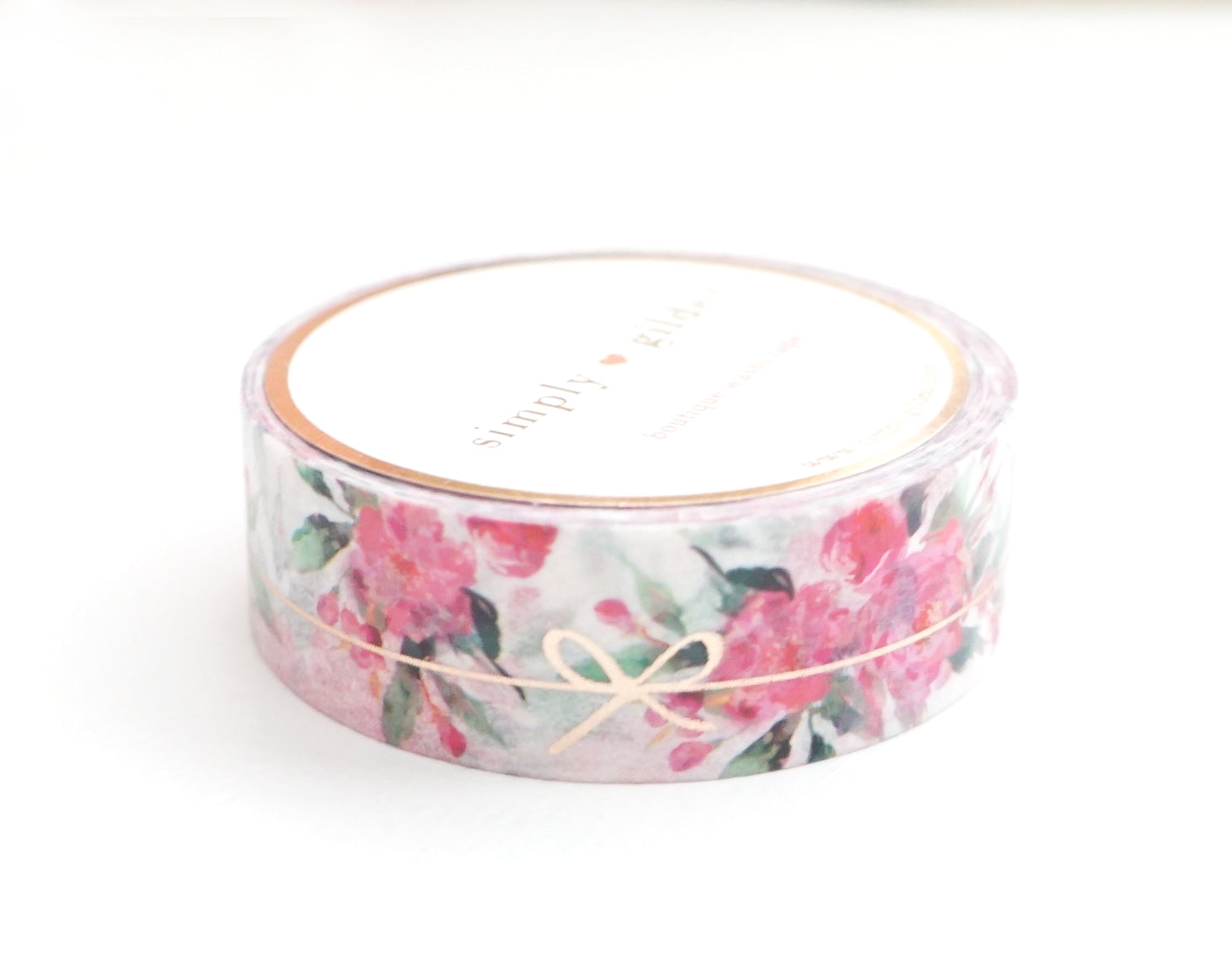 WASHI TAPE 15mm - White Floral SIMPLE BOW LINE + ROSE gold foil (January 10 Release)