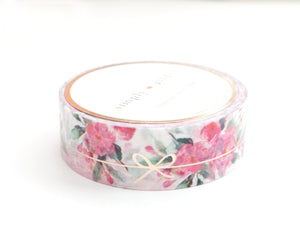WASHI TAPE 15mm - White Floral SIMPLE BOW LINE + ROSE gold foil