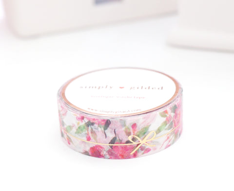 WASHI TAPE 15mm - White FLORAL BOW Simple Line + light GOLD foil (November 8 Holiday Release)