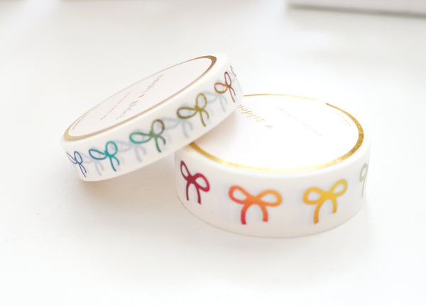 WASHI TAPE 15/10mm BOW set - WHITE + RAINBOW foil